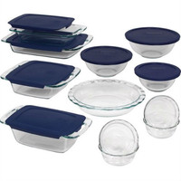 19 Piece Glass Cookware Bakeware Set With Blue Lids