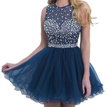 VILAVI Women's A-line Round Brought Short Tulle Open Back Crystal Prom Dresses
