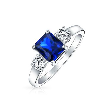 Blue Emerald Cut Simulated Sapphire CZ Engagement Ring Sterling Silver