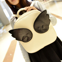 Womens cute angel wings backpack leather bag gift 02