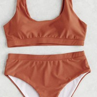 Solid Color High Waist Square Neck Sport Bikini Set