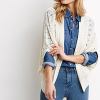 Lace-Paneled Pointelle Cardigan