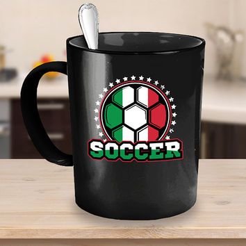 Italy Soccer Ball Coffee Mug 11 or 15oz Black Ceramic Cup, Soccer Gift, Soccer Player, Soccer Mug, Italy Flag