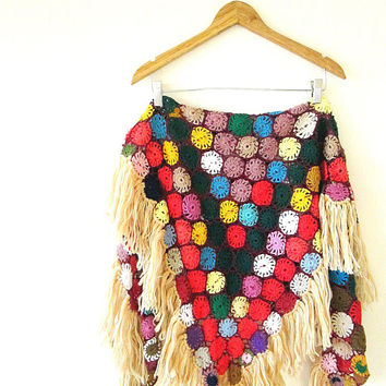 Vintage 70s RAINBOW Crocheted GRANNY SQUARE Fringe Over Shoulder Triangle Shawl