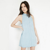 Light Blue Old Denim Collared Sleeveless Mini Dress