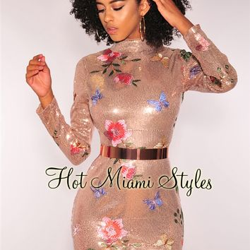 Rose Gold Sequins Embroidered Floral Mock Neck Long Sleeves Dress