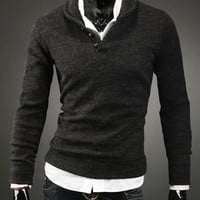 Black Turn-down Collar Buttons Long Sleeves Sweater