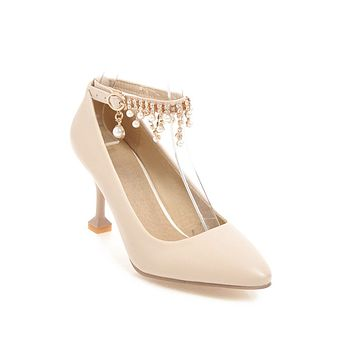 Women's Pointed Rhinestone Shallow Mouth High Heel Pumps