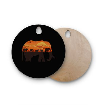 "Eikwox ""African Elephant"" Brown Orange Illustration Digital Animal Print Nature Round Wooden Cutting Board"