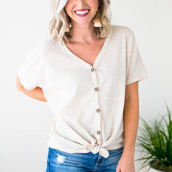 Made with Love Oatmeal Tie Front Top