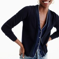 Harlow cardigan sweater with tipped-silk underlay