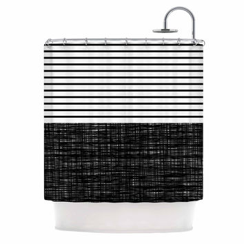 "Trebam ""Platno (with Black Stripes)"" Black White Shower Curtain"
