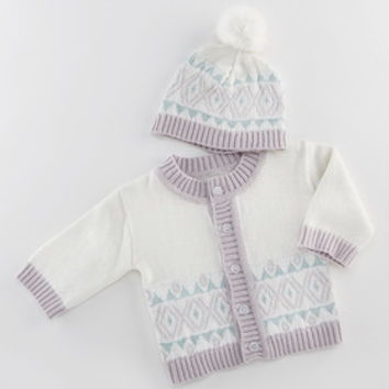 Baby Aspen BA25009WT White Fair Isle Cardigan and Pom Pom Hat