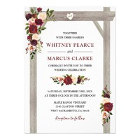Rustic Burgundy Blush Floral Boho Wedding Arch Card