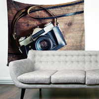 Rustic Wood Country Camera Photographer Boho Wanderlust Unique Dorm Home Decor Wall Art Tapestry