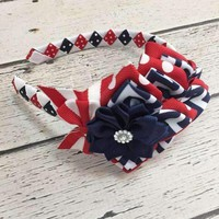 Girls 4th of July Headband, OTT Hair Bows, Baby Bows, Hair Clips, Headbands, Flower Headband