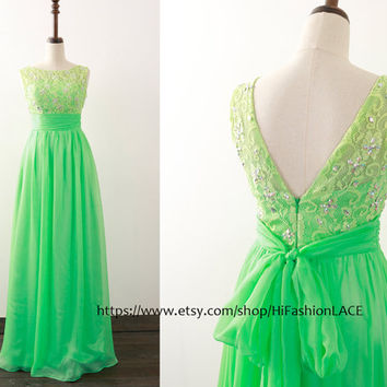 Mint Prom Dress, Straps V Neck Lace Chiffon Prom Gown, Light Green Formal Dresses, Wedding Bridesmaid Dress