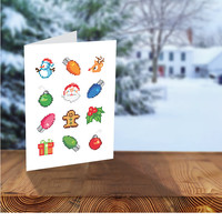 Geeky Christmas Card, Pixel Christmas Lights, Nerd Christmas Greeting Cards, Printable Holiday Cards, Pixel Christmas Icons, Video Game Card
