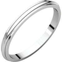 18k White Gold 2mm Half Round Edge Wedding Band Ring - Bridal Jewelry: RingSize: 50