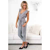 Closer To You Striped Jumpsuit (Grey Stripe)