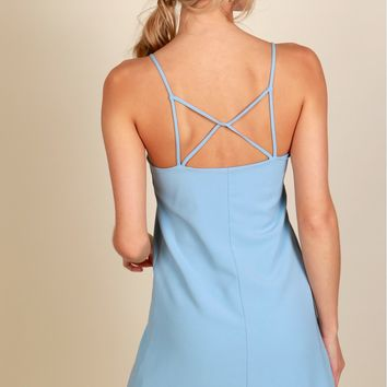 Sweet Greeting Shift Dress Sky Blue