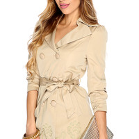 Tan Double Breasted Embroidered Waist Tie Trench Coat