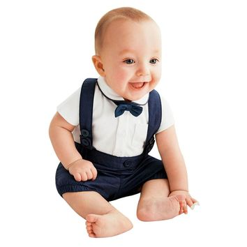 277c7a458 2pcs baby clothes set Toddler Baby Infant Boys Outfits Bow Tie+T
