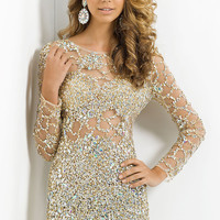 Short Sheer Beaded and Sequined Dress