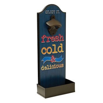 Boston Warehouse ''Fresh Cold'' Wall Bottle Opener (Blue)