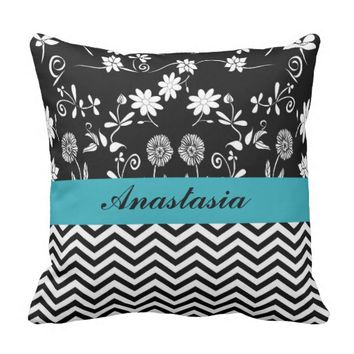 customize,floral and monogram pattern throw pillow