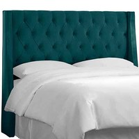 Skyline Furniture, Mfg. 152QMSTPCC Mystere Peacock Tufted Wingback Queen Headboard with Welt