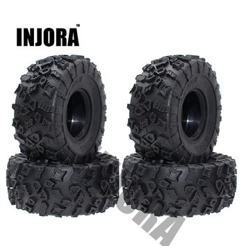 4Pcs 2.2 Inch Rubber Tyres Wheel Tires for 1/10 RC Rock Crawler SCX10 RR10 Wraith 90056 90045 90031 90020 YETI Rock 90026 90025