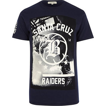 River Island MensNavy blue Santa Cruz Raiders t-shirt