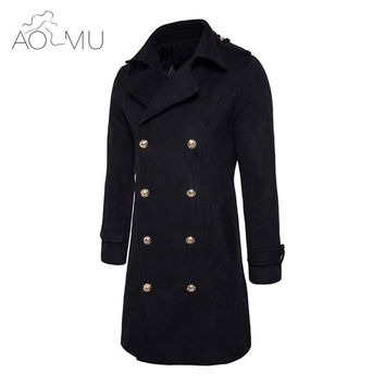 AOMU 2017 New Winter Men Wool Blend Trench Coat Double Breasted Long Trench Overcoat High Quality Men Coats Fashion Trench
