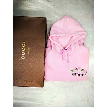 GUCCI Autumn And Winter New Fashion Bust Embroidery Floral Letter Men Women Long Sleeve Hooded Top Sweater Pink