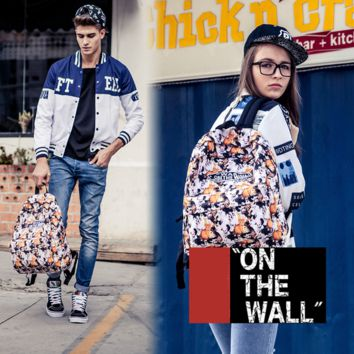 """Vans""Fashion Personality printing large capacity backpack bag leisure travel boom Cute cat printing(7 style)"