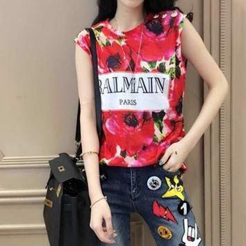 """Balmain"" Fashion Flower Letter Print Sleeveless Vest Women Buttons Decoration T-shirt Tops"