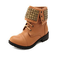 Pyramid Stud Combat Bootie: Charlotte Russe
