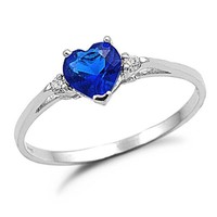 Sterling Silver Heart Shaped Simulated Blue Sapphire Engagement Ring-Sizes 3 to 12