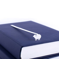 White Sheep Book Bookmark // Unique present for a stylish book lover // laser cut metal // unique design // For reader // Free shipping //