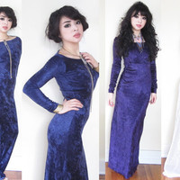 Crushed Velvet Formal Boat Neck Full Sleeve Body Con Maxi Dress CUSTOM many colors