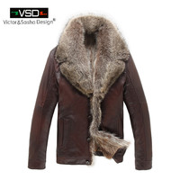 Leather Jacket Coat Wool Liner Men Winter Thick Leather Fur High Quality sheepskin coat