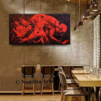 Minimalist Art Abstract Man in Red Painting on Stretched Canvas, Contemporary Art, Modern Wall Art Office Decor by Nandita 48x24in/122x61cm