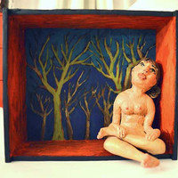 Nature - Figure - Diorama - Polymer Clay Sculpture - in Painting Wooden Box - Nature Girl - Acrylic and Clay