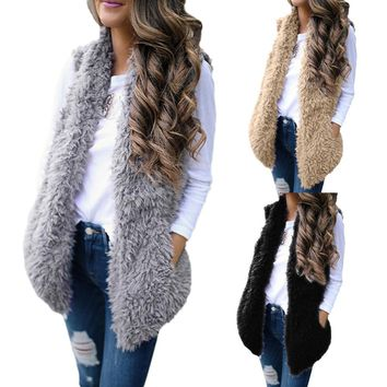 Ladies Women Sexy Lady Faux Fur Solid Casual Sleeveless Warm Vest Waistcoat