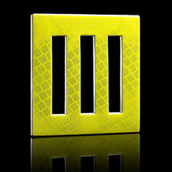 Yellow Bars Recycled D.P.W. Aluminum Street Sign Bally Brooch 1
