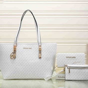 MK Popular Women Shopping Bag Leather Handbag Shoulder Bag Crossbody Purse Wallet Three Piece Set White I-KSPJ-BBDL