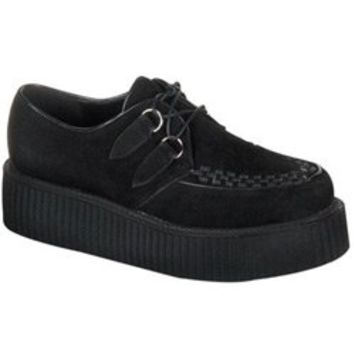 CREEPER-402S Black Suede Creepers - Creepers shoes and boots