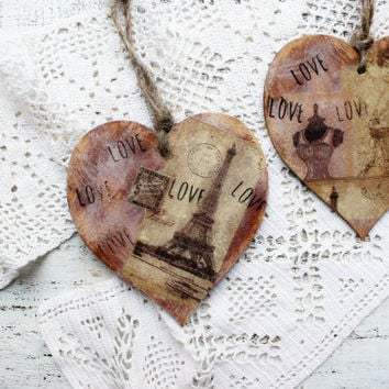 Paris France wooden heart ornaments Valentines day vintage retro rustic off white sepia brown shabby wedding favors bridal shower