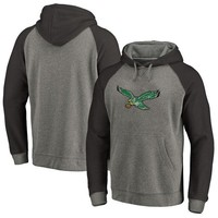 Best Deal Online Men's Philadelphia Eagles NFL Pro Line by Fanatics Branded Gray Black Throwback Logo Tri-Blend Raglan Pullover Hoodie